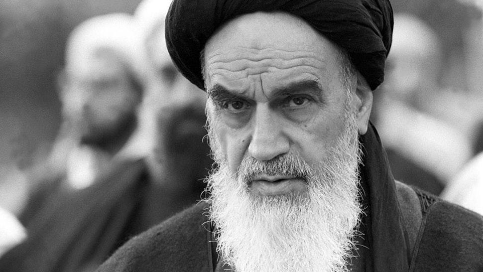 Ayatollah Khomeini praying in Neauphle -le -Chateau, France on November 20, 1978.