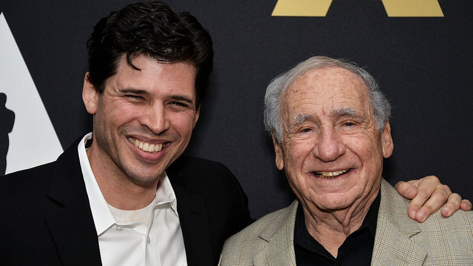 """Author Max Brooks (L) and his father, actor Mel Brooks attend The Academy's 20th Anniversary Screening of """"The Shawshank Redemption"""" at the AMPAS Samuel Goldwyn Theater on November 18, 2014 in Beverly Hills, California."""