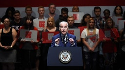 U.S. Vice President Joe Biden speaks to students as part of the national It's On Us Week of Action at the Cox Pavilion at UNLV on April 7, 2016 in Las Vegas, Nevada.