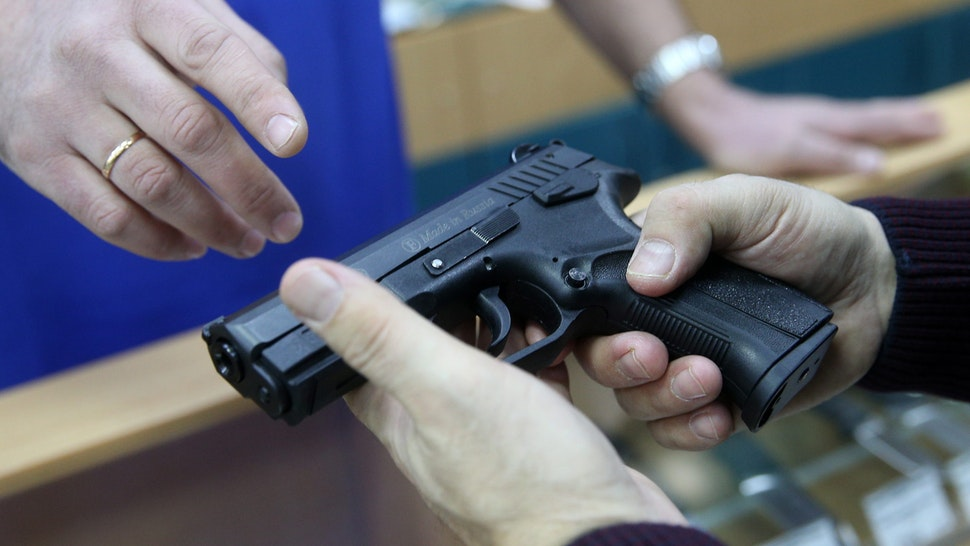 KAZAN, RUSSIA - JANUARY 11, 2017: A nonlethal pistol for sale at the Guns House shop. Yegor Aleyev/TASS (Photo by Yegor Aleyev\TASS via Getty Images)