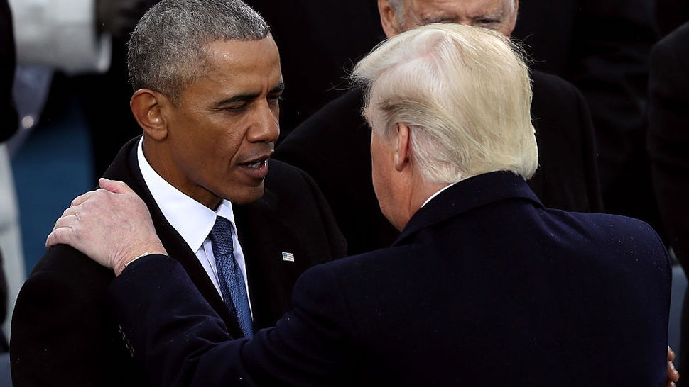 Former president Barack Obama greets President Donald Trump after his inauguration on the West Front of the U.S. Capitol on January 20, 2017 in Washington, DC.
