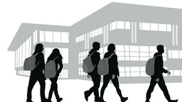 Back to school vector illustration of silhouette students walking on campus carrying backpacks