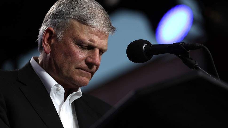 "Rev. Franklin Graham speaks during Franklin Graham's ""Decision America"" California tour at the Stanislaus County Fairgrounds on May 29, 2018 in Turlock, California."