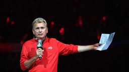 American television personality Pat Sajak makes the team introductions before Game Three of the 2018 NHL Stanley Cup Final between the Vegas Golden Knights and the Washington Capitals at Capital One Arena on June 2, 2018 in Washington, DC.