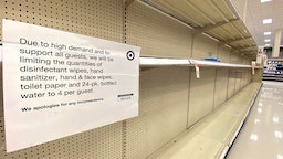 ARLINGTON, VIRGINIA - MARCH 13: Shelves normally stocked with hand wipes, hand sanitizer and toilet paper sit empty at a Target store as people stockpile supplies due to the outbreak of the coronavirus (COVID-19) March 13, 2020 in Arlington, Virginia. The U.S. government is racing to make more coronavirus test kits available as schools close around the country, sporting events are canceled, and businesses encourage workers to telecommute where possible.