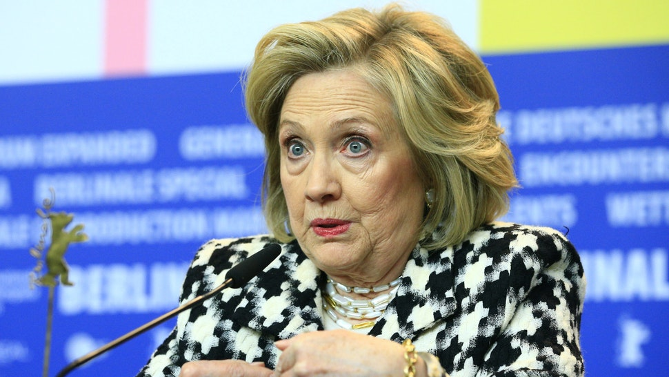 """BERLIN, GERMANY, FEBRUARY 25: Former US Secretary of State Hillary Clinton speaks during a press conference ahead of the screening of a movie """"Hillary"""" within the 70th International Berlinale film festival in Berlin, Germany on February 25, 2020."""