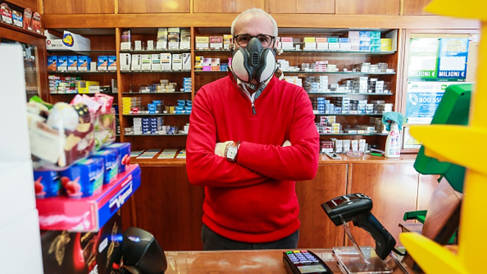 ROME, ITALY - MARCH 16: A tobacconist keeps working during the Coronavirus (COVID-19) emergency on March 16, 2020 in Rome, Italy. It's a week after the Italian Government has taken the unprecedented measure of a nationwide lockdown by closing all businesses except essential services such as pharmacies, grocery stores, hardware stores, gas stations and tobacco stores. During the Coronavirus (COVID-19) emergency.