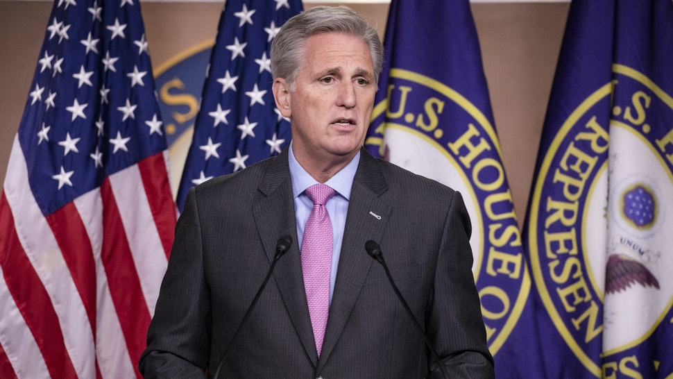 WASHINGTON, DC - MARCH 05: House Minority Leader Kevin McCarthy (R-CA) holds his weekly press conference on Capitol Hill on March 5, 2020 in Washington, DC.
