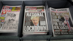 Today's newspapers displayed at a local shop in Malvern, the day after Prime Minister Boris Johnson put the UK in lockdown to help curb the spread of the coronavirus.