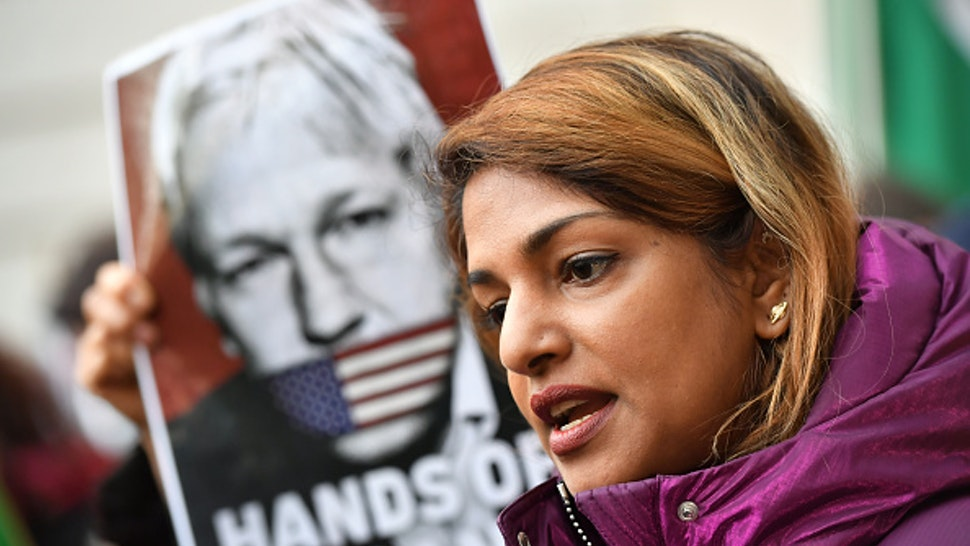 Rapper M.I.A. speaks to the media outside Westminster Magistrates Court, London where Wikileaks founder Julian Assange is appearing for an administrative hearing relating to his extradition to the United States over allegations that he conspired to break into a classified Pentagon computer.