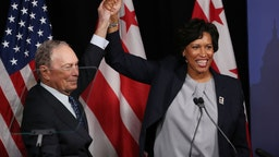 Democratic presidential candidate, former New York City Mayor Michael Bloomberg receives an endorsement from District of Columbia Mayor, Muriel Bowser during a campaign event where he spoke about affordable housing on January 30, 2020 in Washington, DC. The first-in-the-nation Iowa caucuses will be held February 3. (Photo by Mark Wilson/Getty Images)