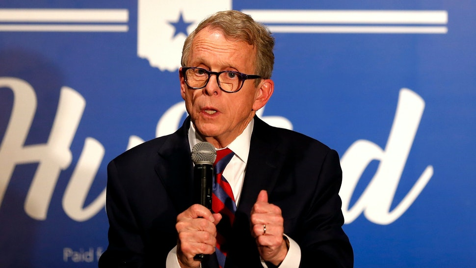 COLUMBUS, OH - NOVEMBER 02: Republican Gubernatorial Candidate Ohio Attorney General Mike DeWine speaks to a group of supporters during a campaign event at the Boat House at Confluence Park on November 2, 2018 in Columbus, Ohio. DeWine is running against former Ohio Attorney General and Democratic Gubernatorial Candidate Richard Cordray for the governorship of Ohio, currently held by Republican and 2016 Presidential candidate John Kasich, who has reached his term limit.