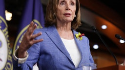 WASHINGTON, DC - JULY 26: Speaker of the House Nancy Pelosi (D-CA) holds her weekly press conference at the U.S. Capitol Visitors Center July 26, 2019 in Washington, DC. The House of Representatives passed a 2-year budget deal Thursday that was struck between Pelosi and Treasury Secretary Steven Mnuchin.