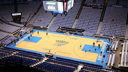 OKLAHOMA CITY, OK - APRIL 21: General view as players and coaches practice on the court before Game One of the Western Conference Quarterfinals of the 2013 NBA Playoffs between the Houston Rockets and the Oklahoma City Thunder at Chesapeake Energy Arena on April 21, 2013 in Oklahoma City, Oklahoma.