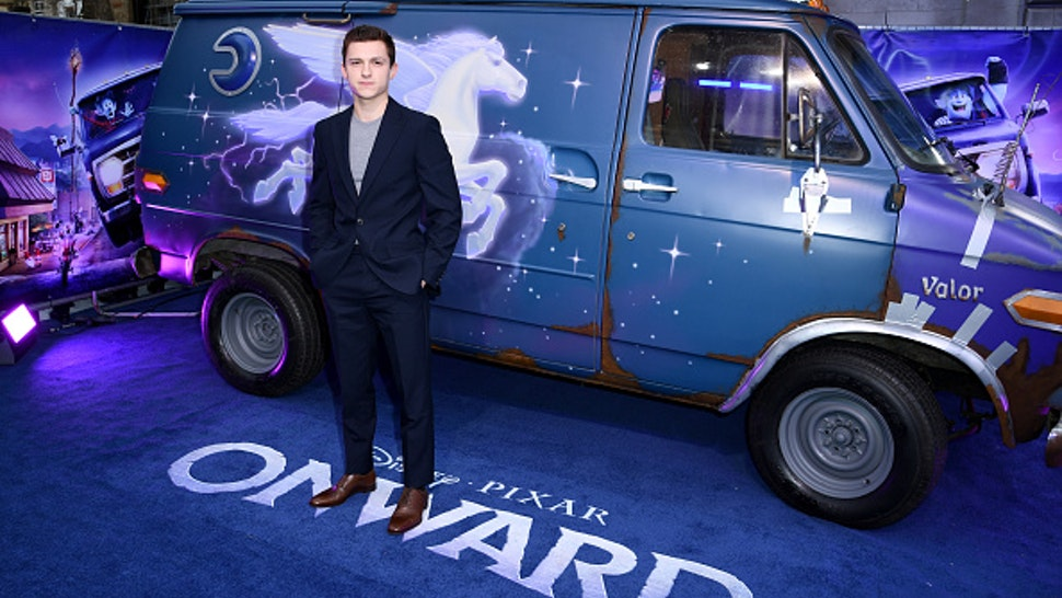 """LONDON, ENGLAND - FEBRUARY 23: Tom Holland attends the UK Premiere Of Disney And Pixar's """"Onward"""" at The Curzon Mayfair on February 23, 2020 in London, England."""