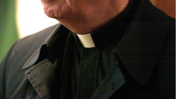 """403101 05: The collar of a priest is seen at St. Adalbert Catholic Church March 29, 2002 in Chicago, IL. Good Friday's """"Way of the Cross"""" services is celebrated by Roman Catholics all over the world."""