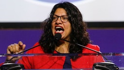 "DETROIT, MI - JULY 22: U.S. Representative Rashida Tlaib (D-MI) speaks at the opening plenary session of the NAACP 110th National Convention on July 22, 2019 in Detroit, Michigan. The Convention is from July 20 to July 24 at Detroit's COBO Center. The theme of this year's Convention is, ""When We Fight, We Win."""