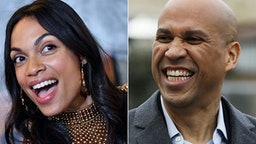 "(COMBO) This combination of pictures created on March 14, 2019 shows US actress Rosario Dawson attending the Netflix Original Series Marvel's Luke Cage Season 2 New York City Premiere on June 21, 2018 in New York City, and US Senator Cory Booker (D-NJ) arrives for a press conference announcing his run for US president in 2020, on February 1, 2019, outside his home in Newark, New Jersey. - Senator Cory Booker, one of more than a dozen Democrats seeking the party's tip to run for president in 2020, is in a relationship with star Latina actress Rosario Dawson, Dawson confirmed on March 14, 2019. While Booker has long been intensely private about his relationships, Dawson confirmed it on camera to TMZ as she walked through Washington's national Airport.Were the rumors true? asked the TMZ reporter.""Yes. Very much so,"" Dawson replied, adding: ""So far so wonderful, he's a wonderful human being. It's good to spend some time together when we can."""