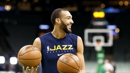 BOSTON, MASSACHUSETTS - MARCH 06: Rudy Gobert #27 of the Utah Jazz warms up before the game against the Boston Celtics at TD Garden on March 06, 2020 in Boston, Massachusetts.