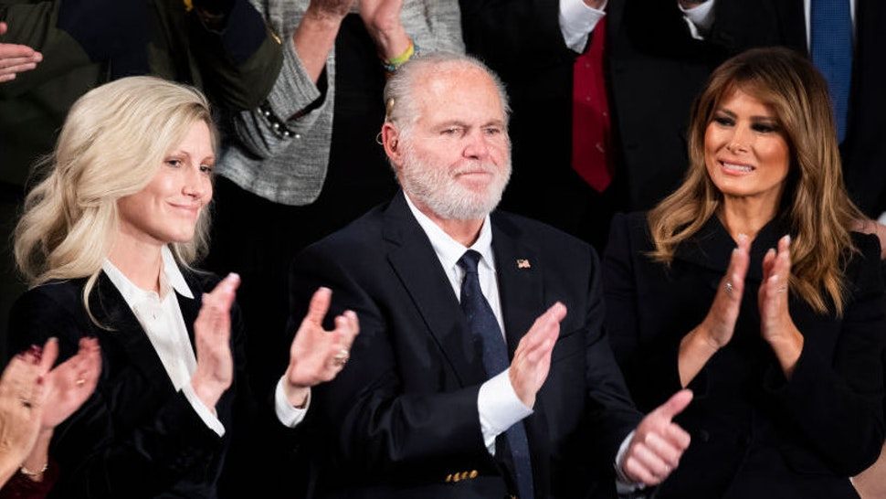 Rush Limbaugh is recognized before First Lady Melania Trump, right, awarded him the Presidential Medal of Freedom during President Donald Trump's State of the Union address in the House Chamber on Tuesday, February 4, 2020. (Photo By Tom Williams/CQ Roll Call)
