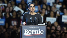 Actor Sarah Silverman speaks at a Bernie Sanders 2020 presidential campaign rally at Los Angeles Convention Center on March 01, 2020 in Los Angeles, California. (Photo by Michael Tullberg/Getty Images)
