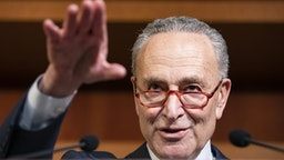 WASHINGTON, DC - FEBRUARY 05: Senate Minority Leader Chuck Schumer (D-NY) holds a news conference after the Senate voted to acquit President Donald Trump on the two articles of impeachment brought by the House of Representatives to the Senate for trial on Capitol Hill on February 5, 2020 in Washington, DC.