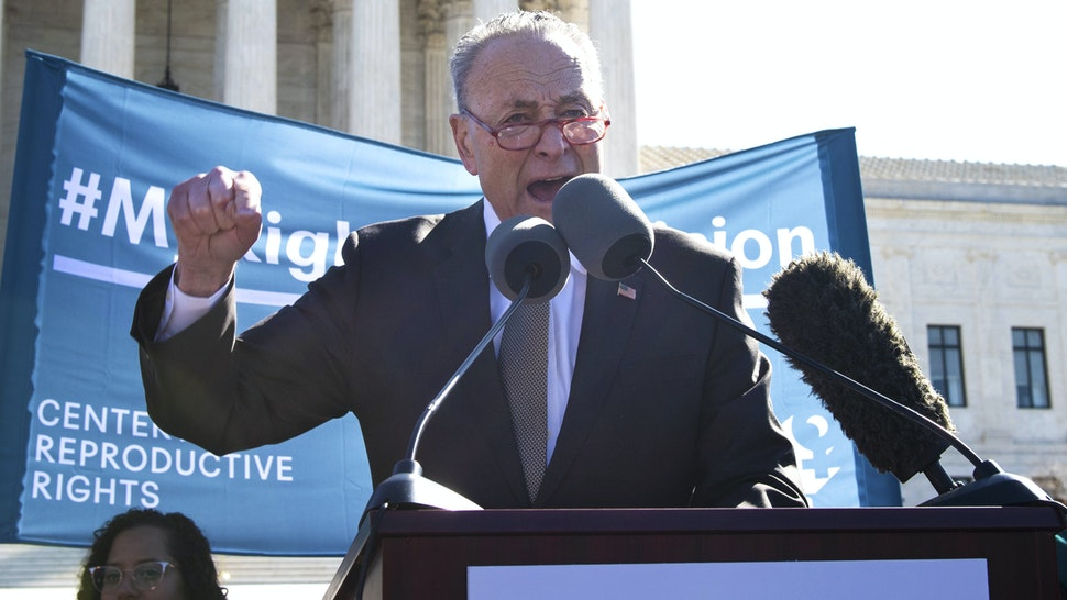 UNITED STATES - MARCH 4: Senate Minority Leader Chuck Schumer, D-N.Y., speaks at an abortion rights rally during a demonstration outside the Supreme Court in Washington on March 4, 2020, as the Court hears oral arguments regarding a Louisiana law about abortion access on Wednesday, March 4, 2020.