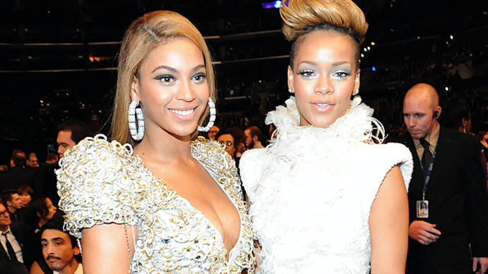 Beyonce and Rihanna attend the 52nd Annual GRAMMY Awards held at Staples Center on January 31, 2010 in Los Angeles, California.