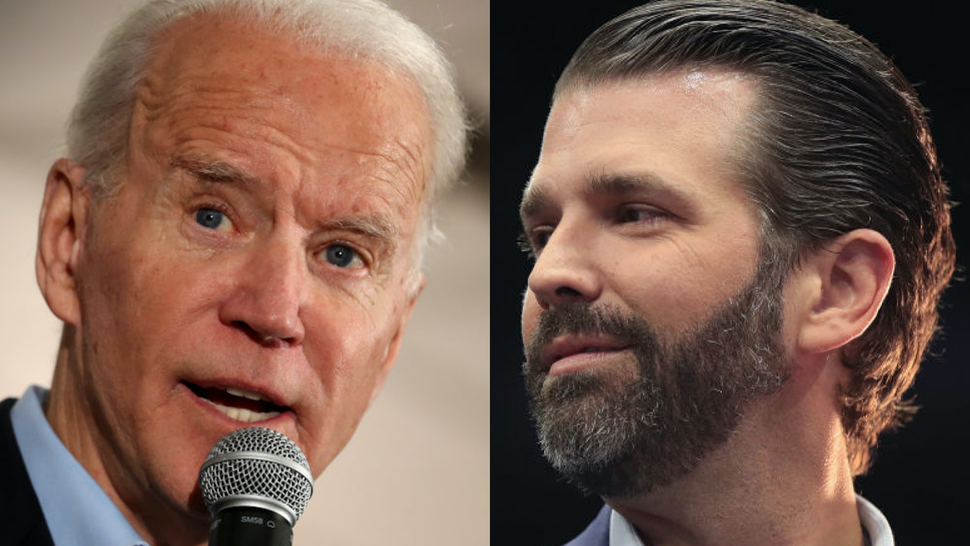 Joe Biden speaks during a campaign event on January 31, 2020 in Fort Madison, Iowa//Donald Trump Jr. talks to the press before the arrival of his father President Donald Trump during a rally at the Van Andel Arena on March 28, 2019 in Grand Rapids, Michigan