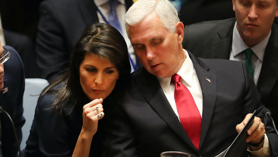 U.S. Vice President Mike Pence confers with U.S. Ambassador to the United Nations (U.N) Nikki Haley at a Security Council meeting during the 72nd U.N. General Assembly at U.N. headquarters on September 20, 2017 in New York City.