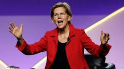 "DETROIT, MI - JULY 24: Senator Elizabeth Warren (D-MA) participates in a Presidential Candidates Forum at the NAACP 110th National Convention on July 24, 2019 in Detroit, Michigan. The theme of this year's Convention is, ""When We Fight, We Win."""