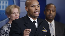 Vice Admiral Jerome Adams, U.S. Surgeon General, speaks during a news conference in the briefing room of the White House in Washington, D.C., U.S., on Saturday, March 14, 2020. President Donald Trump said he took a test to determine whether he has coronavirus, days after learning that hes come in contact with people who were infected or are concerned theyve got the virus.