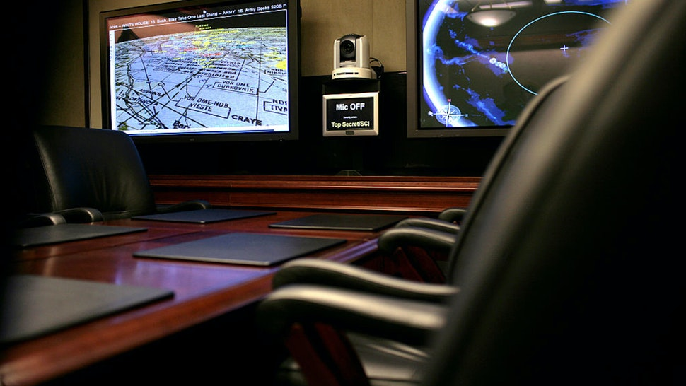 Inside the Situation Room at the White House in Washington, DC.
