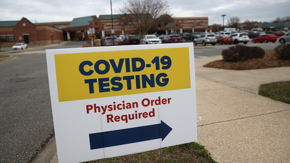 LEONARDTOWN, MARYLAND - MARCH 17: Signs directing patients to a COVID-19 virus testing drive-up location are shown outside Medstar St. Mary's Hospital on March 17, 2020 in Leonardtown, Maryland. The facility is one of the first in the Washington, DC area to offer coronavirus testing as more than 5,200 cases have been confirmed in the United States, and more than 90 deaths have been attributed to the virus.