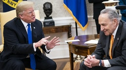WASHINGTON, DC - DECEMBER 11 : President Donald J. Trump debates with Senate Minority Leader Chuck Schumer, D-N.Y., during a meeting with House Minority Leader Nancy Pelosi, D-Calif., and Vice President Mike Pence in the Oval Office of White House on Tuesday, Dec. 11, 2018 in Washington, DC.