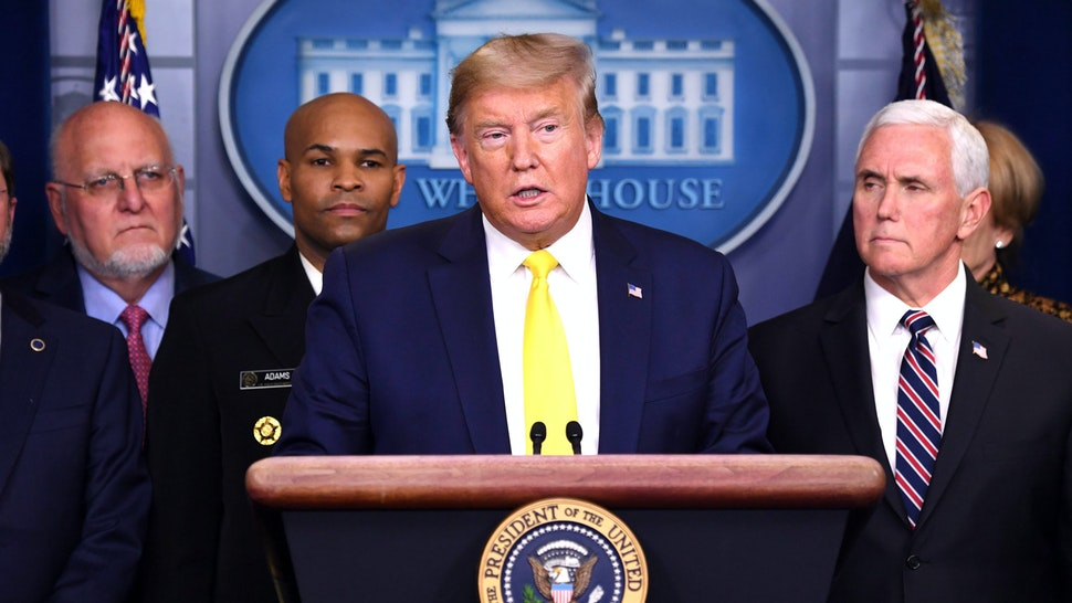 US President Donald Trump speaks about the coronavirus alongside Vice President Mike Pence and members of the Coronavirus Task Force in the Brady Press Briefing Room at the White House in Washington, DC, March 9, 2020.
