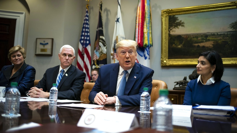 U.S. President Donald Trump, center, speaks while Gail Boudreaux, president and chief executive officer of Anthem Inc., from left, Vice President Mike Pence, and Seema Verma, administrator of the Centers for Medicare and Medicaid Services, listen during a coronavirus briefing with health insurers in the Roosevelt Room of the White House in Washington, D.C., U.S., on Tuesday, March 10, 2020. The window for fully containing the coronavirus has passed in some parts of the U.S. and the White House will roll out plans later Tuesday to mitigate its impact.