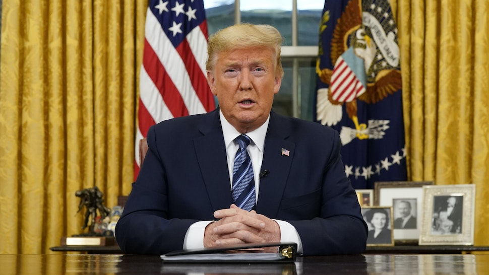 WASHINGTON, DC - MARCH 11: US President Donald Trump addresses the nation from the Oval Office about the widening coronavirus crisis on March 11, 2020. President Trump said the US will suspend all travel from Europe for the next 30 days. Since December 2019, coronavirus (COVID-19) has infected more than 109,000 people and killed more than 3,800 people in 105 countries.
