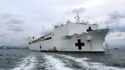 US Navy hospital ship USNS Mercy arrives in Nha Trang in central Vietnam on May 17, 2018 as part of a two-week Pacific Partnership mission involving multilateral humanitarian assistance and disaster relief preparedness aimed at boosting security ties between the former war foes. (Photo by Linh PHAM / AFP)