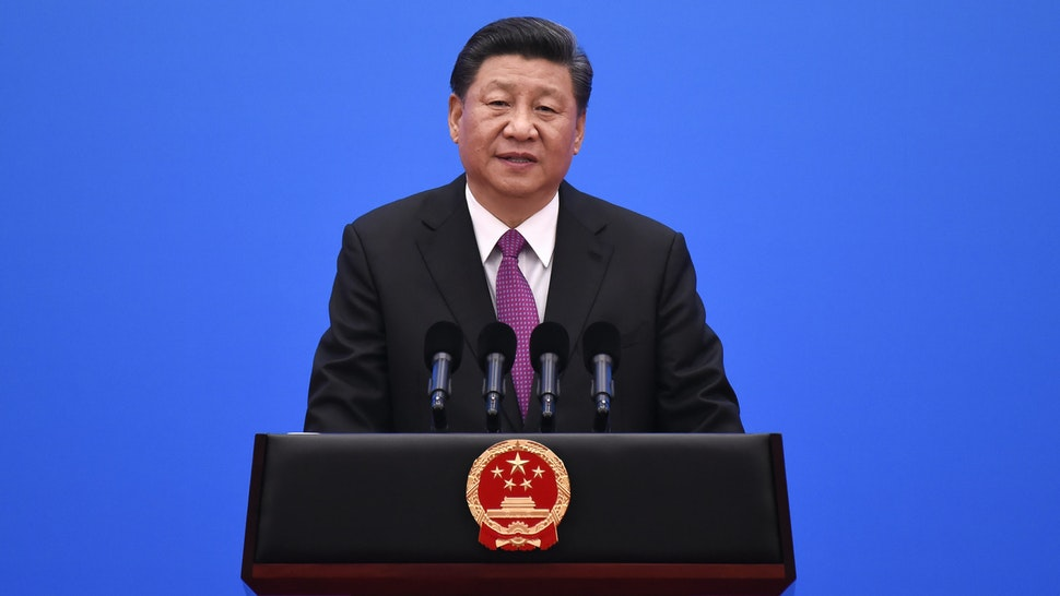 BEIJING, CHINA - APRIL 27: Chinese President Xi Jinping gives a speech at a press conference after the Belt and Road Forum at the China National Convention Center at the Yanqi Lake venue on April 27, 2019 in Beijing, China.