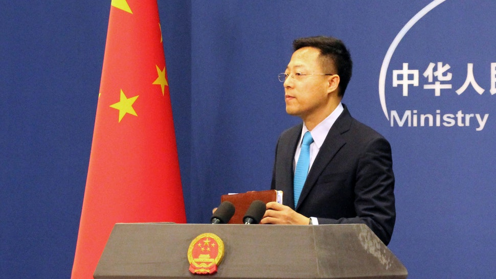 BEIJING, CHINA - FEBRUARY 24, 2020: Chinese Foreign Ministry Spokesman Zhao Lijian during his first regular press briefing at the Chinese Foreign Ministry; on February 3-21, the Ministry's regular briefings were held online amid the COVID-19 coronavirus outbreak.