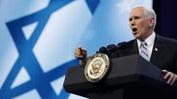 WASHINGTON, DC - MARCH 05: U.S. Vice President Mike Pence address the American Israel Public Affairs Committee's annual policy conference at the Washington Convention Center March 5, 2018 in Washington, DC. With thousands of delegates and attendees, the annual conference is the the largest gathering of the pro-Israel movement in the United States. (Photo by