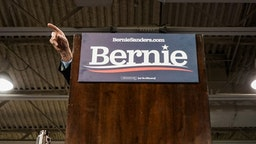 VIRGINIA BEACH, VA - FEBRUARY 29: Sen. Bernie Sanders, I-Vt., Democratic Presidential Candidate speaks to supporters during a rally at Virginia Wesleyan University Convocation Hall on Saturday, February 29, 2020 in Virginia Beach, VA. (Photo by