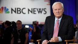 LAS VEGAS, NEVADA - FEBRUARY 19: Chris Matthews of MSNBC waits to go on the air inside the spin room at Bally's Las Vegas Hotel & Casino after the Democratic presidential primary debate on February 19, 2020 in Las Vegas, Nevada. Six candidates qualified for the third Democratic presidential primary debate of 2020, which comes just days before the Nevada caucuses on February 22. (Photo by