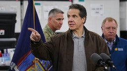 NEW YORK, NEW YORK - MARCH 23: New York Governor Andrew Cuomo speaks to the media and members of the National Guard at the Javits Convention Center which is being turned into a hospital to help fight coronavirus cases on March 23, 2020 in New York City. The plan is part of his New York state request for assistance to the federal government for four field hospital sites and aid from the U.S. Army Corps of Engineers. New York has been one of the hardest hit states in the nation with over 10,000 cases of COVID-19. (Photo by