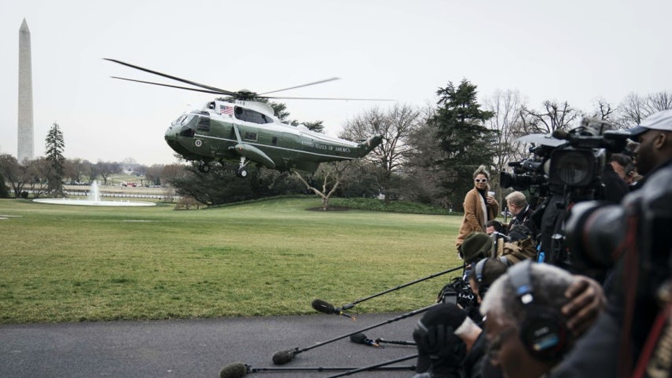 Marine One arrives on the South Lawn of the White House in Washington, D.C., U.S., on Friday, March 6, 2020. President Donald Trumpis traveling to Tennessee after the central part of the state was hit by tornadoes that killed at least19 people. Photographer: