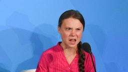 NEW YORK, NY - SEPTEMBER 23: Youth activist Greta Thunberg speaks at the Climate Action Summit at the United Nations on September 23, 2019 in New York City. While the United States will not be participating, China and about 70 other countries are expected to make announcements concerning climate change. The summit at the U.N. comes after a worldwide Youth Climate Strike on Friday, which saw millions of young people around the world demanding action to address the climate crisis. (Photo b