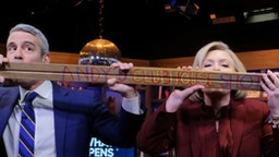 WATCH WHAT HAPPENS LIVE WITH ANDY COHEN -- Episode 17043 -- Pictured: (l-r) Andy Cohen, Hillary Clinton, Dorinda Medley -- (Photo by: