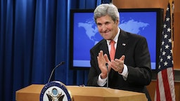 WASHINGTON, DC - JANUARY 05: U.S. Secretary of State John Kerry holds a news conference at the State Department headquarters at the Harry S. Truman building January 5, 2017 in Washington, DC. Kerry used the news conference to list what he considers his and President Barack Obama's foreign policy accomplishments as he prepares to hand the reigns of the department over to the Donald Trump administration. (Photo by