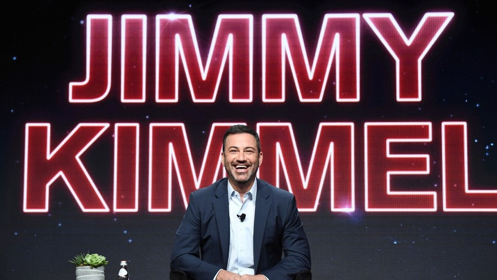 "ABC SUMMER TCA 2019 - Jimmy Kimmel (Executive Producer and Host, ""Live in Front of a Studio Audience"" and ""Jimmy Kimmel Live!"") addressed the press at the ABC Summer TCA 2019, at The Beverly Hilton in Beverly Hills, California. ("